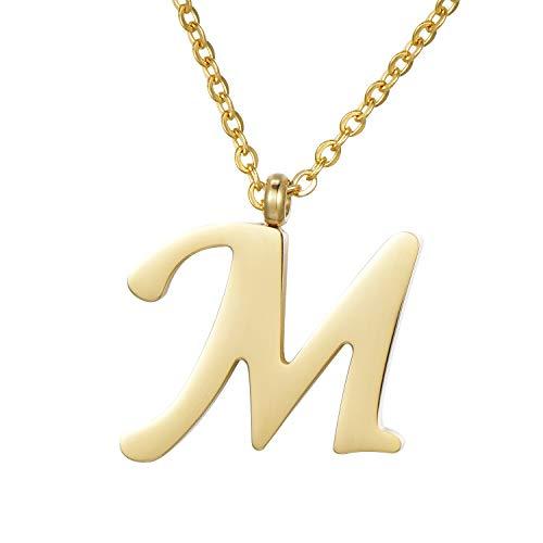 Morella Collar de Oro y Acero Inoxidable con Colgante Letra M