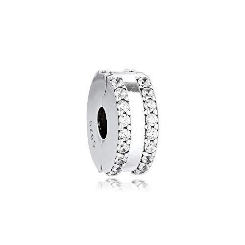 LISHOU Mujer Pandora S925 Clip De Doble Forro De Plata Esterlina Pave Charms Bead Fashion Girl Pulsera Collares Fabricación De Joyas DIY