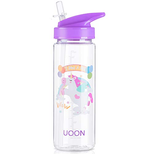 UOON Botella de Agua para Niños de 950ml Reutilizable Tritan de Plástico Sin BPA Botella Infantil con Pajita a Prueba de Fugas para Colegio,Viaje,Deporte(púrpura)