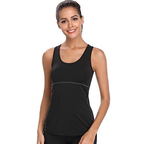 Joyshaper - Camiseta de Entrenamiento para Mujer, de compresión rápida, Deportiva, para Yoga y Fitness, para Correr Negro S