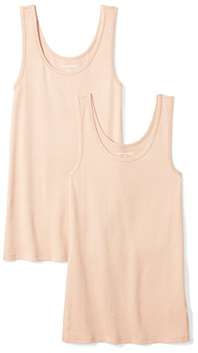 Amazon Essentials Women's 2-Pack Slim-Fit Tank, Nude, Medium