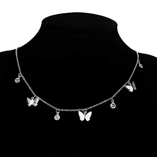 MIKUAU collarBohemian Cute Butterfly Choker Necklace For Women Gold Silver Color Clavicle Chain Fashion Female Chic Chocker Jewelry