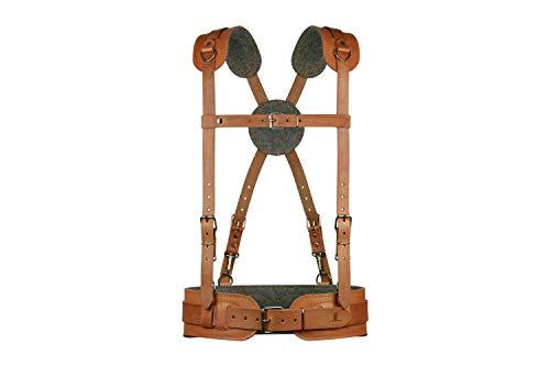 Geschirr aus Leder für die XPT-7000-Serie Werkzeuggürtel mit extra langen Schultergurten, Gürtelgröße M, Taillenumfang 80-90cm