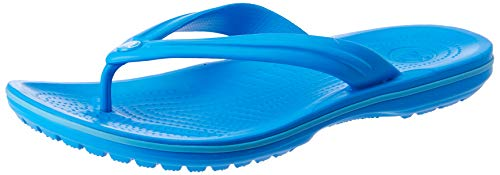 Crocs Women's Crocband Flip Flop | Slip On Sandals | Shower Shoes, Ocean/Electric Blue, 6