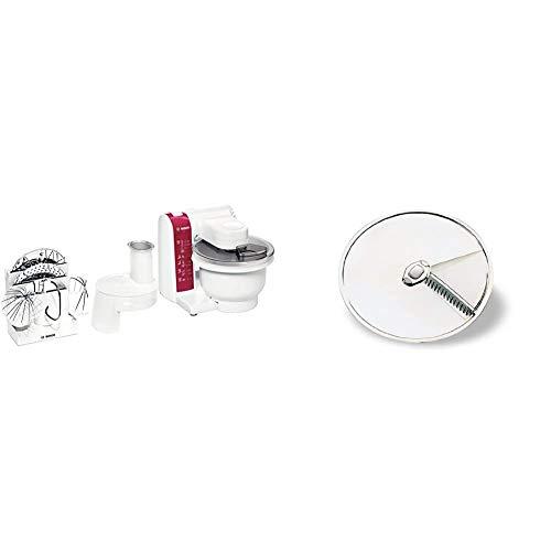 Bosch MUM4825 Küchenmaschine (600 Watt, Kunststoff-Rührschüssel) weiß/rot & Bosch MUZ45AG1 Asia-Gemüse-Scheibe aus Edelstahl / für Durchlaufschnitzler zu Bosch Küchenmaschinen MUM4... MUM5...