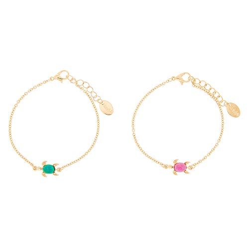 Claire's Matching Mood Turtle Best Friends Chain Bracelets, Gold Tone, 6 Inches Long, Lobster Clasp, Set of 2