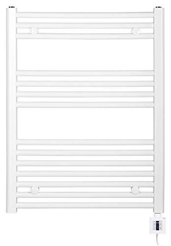 Toallero eléctrico, calefactor (875 x 600 cm, con controlador, blanco/recto), radiador eléctrico, color blanco y cromo, con control de aplicación, radiador eléctrico para baño