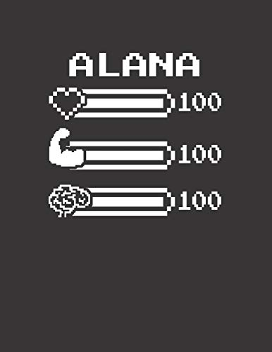 ALANA: Pixel Retro Game 8 Bit Design Blank Composition Notebook College Ruled, Name Personalized for Girls & Women. Gaming Desk Stuff for Gamer Girls. ... Gift. Birthday & Christmas Gift for Women.