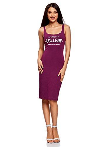 oodji Ultra Mujer Vestido-Camiseta de Tirantes con Estampado
