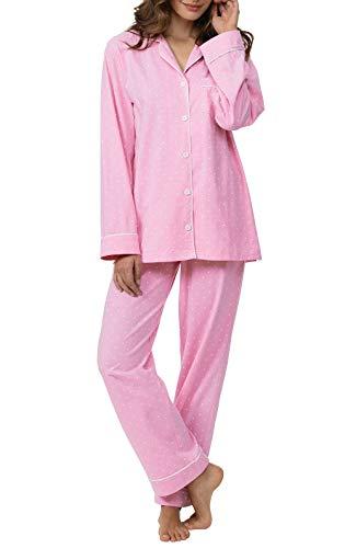 PajamaGram Pajamas for Women Soft - Cotton Jersey Ladies Pajamas, Pink, M, 8-10