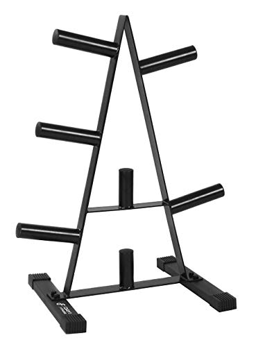 """Olympic Weight Plate Rack, Holds up to 500lb of 2"""" Weights by D1F - Black Weight Holder Tree with 7 Branches for Stacking and Storing High Capacity Weights- Heavy-Duty, Durable Triangle Plate Racks"""