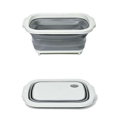 HAOXIANG Multifuncional Tabla de Cortar, 3 en 1 Vegetal Plegable Basket, Basket-Drenaje adecuados para la Cocina del hogar, Comida campestre Que acampa Actividades al Aire Libre (Gris)