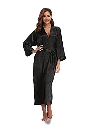 Sunnyhu Women's Pure Color Kimono Robe, Long