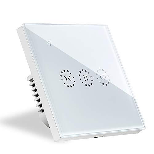 Interruptor Persiana Alexa, Cortina Interruptor de Pared WiFi Compatible con Alexa/Google Assistant para Persianas Rodillo Motor Tubular Blanco(Se Necesita Cable Neutro)