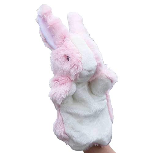 Shulcom Kanin handdocka söt kanin plyschleksak djur docka berättande flicka barn gåva för att följa dockan