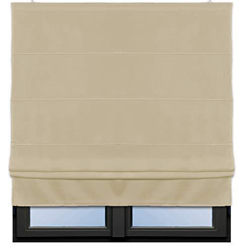 JEMIDI Raffrollo Klemmfix - Ohne Bohren anzubringen- Rollo Seitenzugrollo Jalousien Blickdicht zum Klemmen oder Bohren Klemmfix Sand 80cm x160cm
