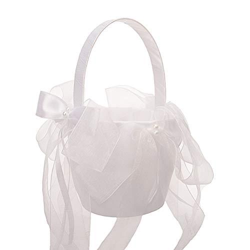 Amosfun cesta de flores de la boda para las mujeres niñas malla arco de flores cesta de la novia para la ceremonia nupcial decoración del partido (blanco)