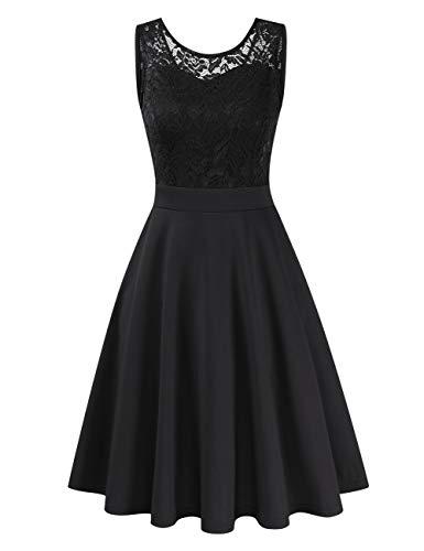 Clearlove Damen Kleider Elegant Spitzenkleid 3/4 Ärmel Cocktailkleid Rundhals Knielang Rockabilly Kleid(Verpackung MEHRWEG), Ärmellos Schwarz, M