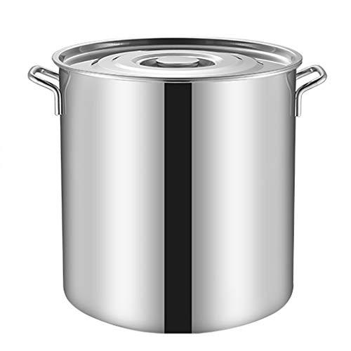 50 litros Olla De Acero Inoxidable De Acero Inoxidable, Taza De Sopa Grande Para El Hogar/Hogar Con Tapa, Olla De Cocina Para Cocina De Gas/Cocina De Inducción (6-70L) (Size : 50L)