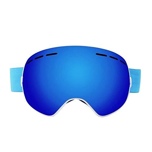 N\A Gafas de esquí para deportes al aire libre, antivaho, protección UV400, lentes espejadas, para snowboard, para hombres y mujeres, jóvenes, para patinaje, moto de nieve (color: azul)