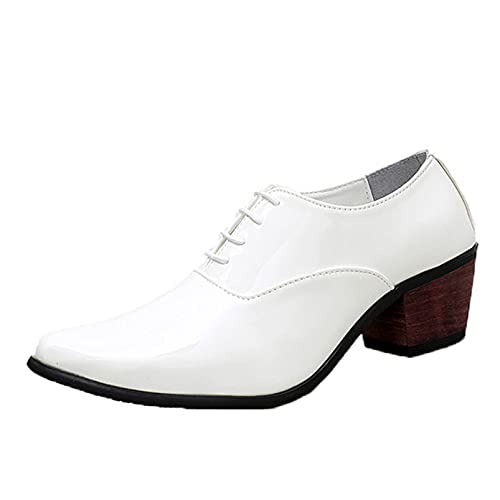 Zapatos Formales para Hombre, de Charol, Punta Puntiaguda, tacón Cubano, Elegantes Zapatos...