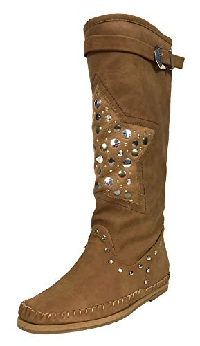 Soda Nag Moccasins Style Knee High Boots with Front Faux Suede Studded Star Patch and Top Buckle Strap, Camel Leatherette, 8 M