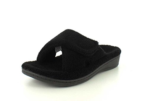 Vionic Women's Indulge Relax Slipper - Ladies Comfortable Cozy Adjustable House Slippers with Concealed Orthotic Arch Support Black 10 Medium US