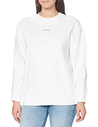Calvin Klein Jeans Damen Unisex Micro Branding Cn Pullover, Bright White, S