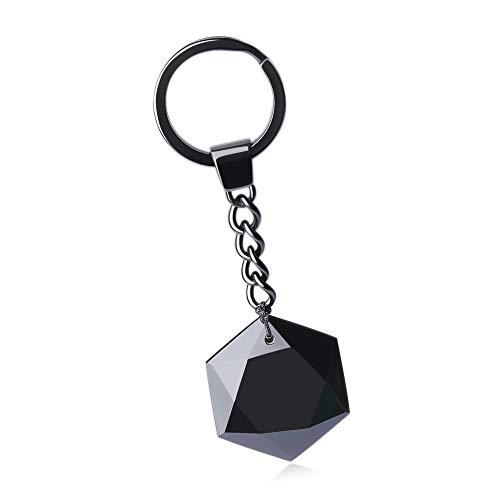 COAI Star of David Black Obsidian Stone Cute Keychain Car Bag Accessory