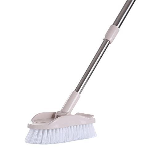 Cepillo de limpieza ajustable para suelos de pared de baño, cepillo para fregar el piso, fregador de lechada, cepillo giratorio de mango largo telescópico para zonas de difícil acceso