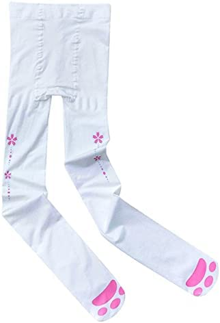 QSMIANA Stockings Cat Paw Printed Thigh High Stockings Anime Cosplay Hosiery Women Girls Sweet Sexy Tights