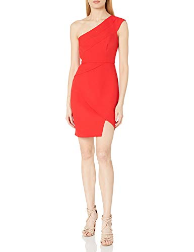 BCBGMAXAZRIA Damen One-Shoulder Cocktail Dress Kleid, Rot, 38