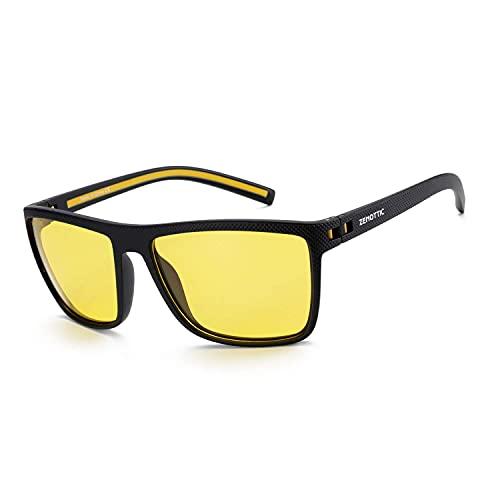 ZENOTTIC Occhiali Da Sole Polarizzati per Uomo Quadrata TR90 Montatura Protezione UV400 Super Leggero