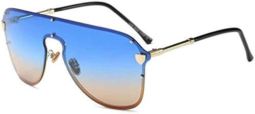 ZYIZEE Gafas de Sol Gafas de Sol de piloto de Gran tamaño para Mujer Gafas de Sol Plateadas con Espejo Gafas de Sol Reflectantes Frescas de Lujo Hispter para Hombre One-C1_Blue_Tea