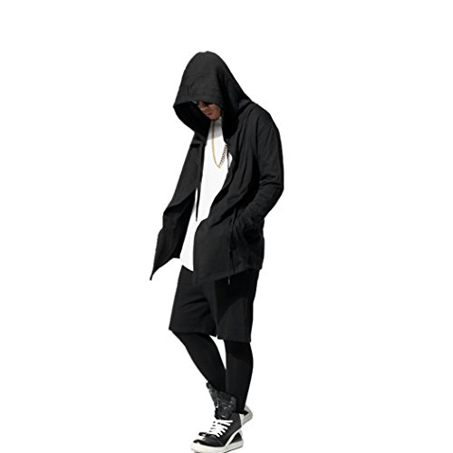 OLRIK Mens Hipster Hip Hop Extra Long Coat Jacket Hoodies Sweatshirts Black S