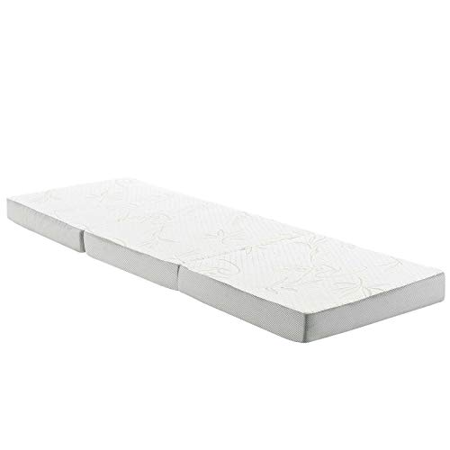 """Modway 4"""" Relax Tri-Fold Mattress Topper CertiPUR-US Certified with Soft Removable Cover (25""""x75"""")"""