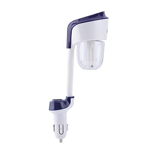 ASHATA 2-in-1 autolader, luchtbevochtiger, luchtverfrisser, auto-etherische oliediffuser met 12 V dual USB-poorten, autolader voor auto, kantoor, thuis, blauw