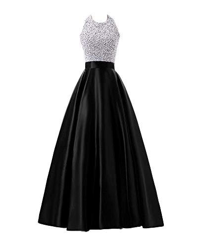 Vestido Largo para Mujer Elegante Lentejuelas Vestidos De Noche Fiesta para Bodas Negro L