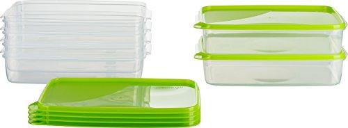 MiraHome Frischhaltedose Gefrierbehälter 2l rechteckig flach 28x18x6,5cm 6er Set grün Austrian Quality