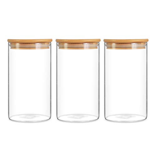 Glass Storage Jar Airtight Food Canisters Set of 3 Container with Bamboo Lid for Serving Tea, Coffee, Spice and More 750ML/25.36Fl.oz