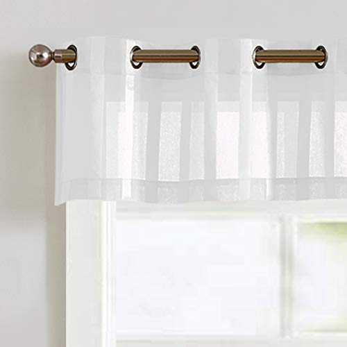 Vangao Valance Grommet Top for Kitchen Bathroom 14 inch Length Sheer Curtians for Cafe Striped Voile for Window ,1 Panel, White
