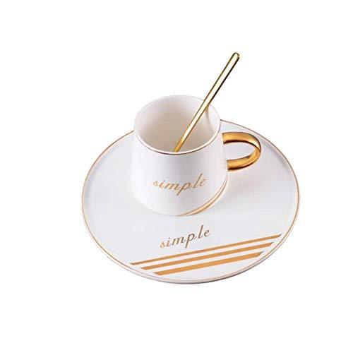 Primst Vintage Teetasse und Untertasse mit Teelöffel Kaffeetasse für Restaurant- und Familientreffen (230 ml) (White)