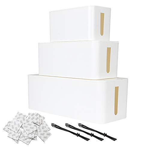 Juego de 3 cajas de tapa para cables, organizador de cables, cubierta...