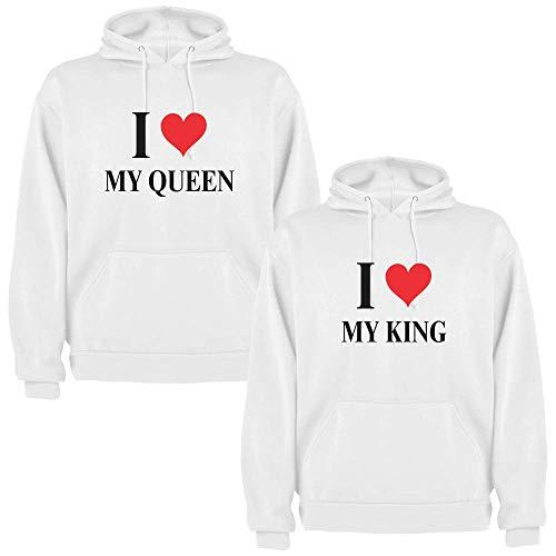 Pack de 2 Sudaderas Blancas para Parejas, My King y My Queen, Negro (M