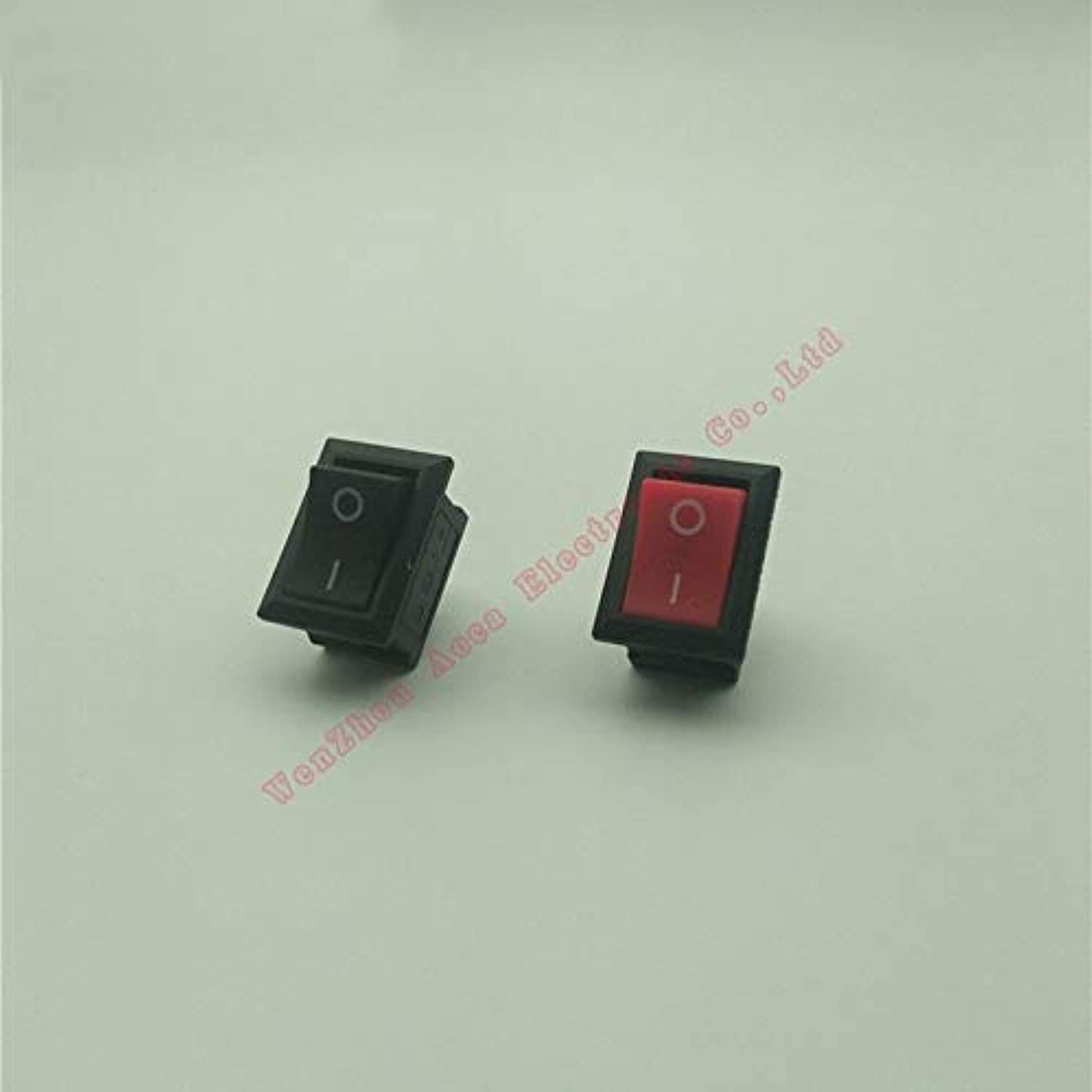 100pcs 2 Positions ONOff Rocker Switch 2 Pin Copper Feet 250V 6A 125V 10A Red Black  (color  Red)