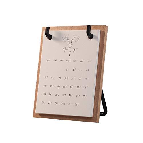 2020 Calendario de Escritorio Retro Simple de Sobremesa Literaria Calendario Plan Diario Anual de Itinerario Mensual Aplicable Ministerio del Interior (Color : Beech, tamaño : 8.11 * 6.53 Inches)