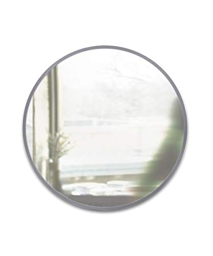 Umbra Hub 37' Round Wall Mirror with Rubber Frame, Modern Decor for Entryways,...