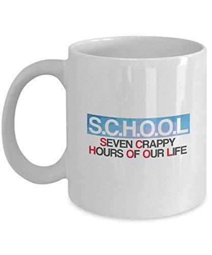 Queen54ferna Regalos para Amante de la Escuela: Siete Horas de Nuestra Vida Escolar, Vida Escolar, Estudiante, Clase, Educación, Taza de Café Novedad, Taza de Té de Cerámica Blanca, 11oz