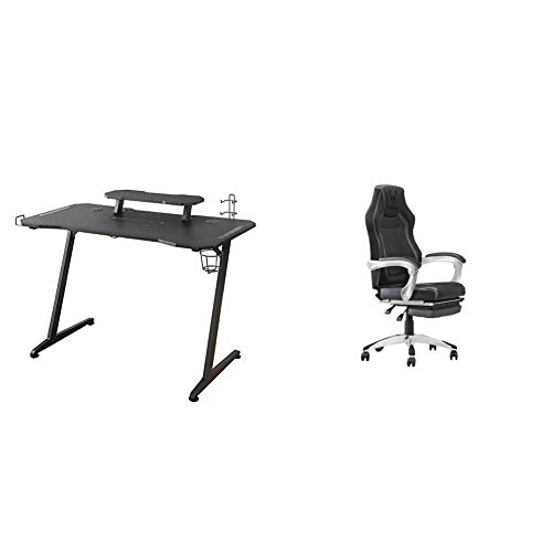 Woxter Stinger Gaming Desk Elite - Mesa Gaming de Escritorio, Leds, Organizador de Cascos, Mandos y Posa Vasos + Silla Gaming