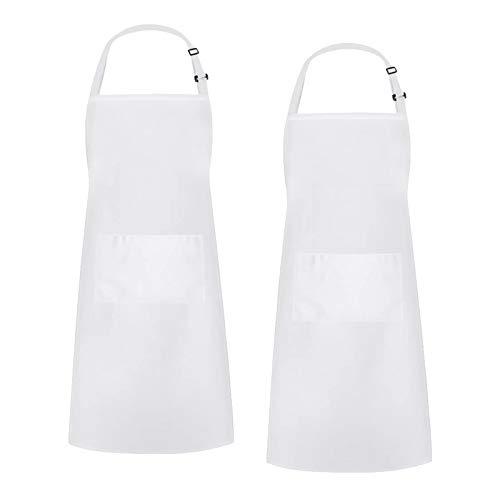 FLAMEER 2 Piezas Adultos Hombres Mujeres Delantal Babero Color sólido Chef Delantal de Cocina con Bolsillo Grande, Color sólido - Blanco